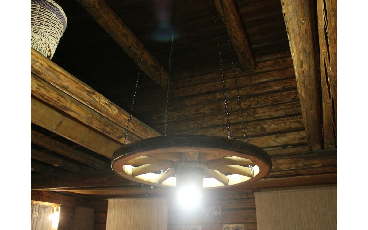 Custom Cart Wheel Ceiling Light