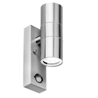 WALLEpir™ 2xGU10 IP44 fixed up&down wall light dimmable, chrome