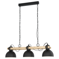 pendant lamp Lubenham 3xE27 base black