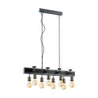 pendant lamp Goldcliff 8xE27 base black
