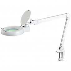 Desk Lamp MAGLIGHT with magnifier 9W desk edge fitting, white