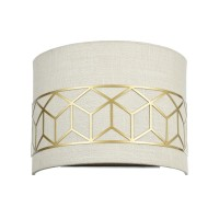 Wall lamp GREECE 2xE14 27cm linnen/gold