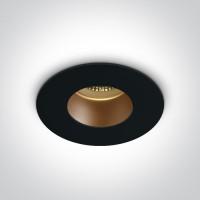 ONE DEEPREFLECT sügav GU10 pirni süvistamisrõngas Ø7.9cm must/vask