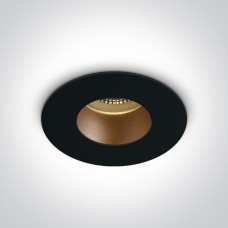 ONE DEEPREFLECT deep GU10 LED bulb mounting ring Ø7.9cm black/brass