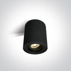 Surface mount Cylinder light GU10 base adjustable, black