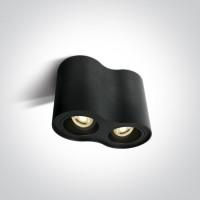Pinnapealne silindervalgusti 2xGU10 pesaga, suunatav, must