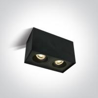 Pinnapealne kandiline silindervalgusti 2xGU10 pesaga, suunatav, must
