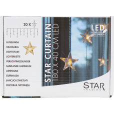 STAR CURTAIN LIGHTS 1.8x0.4m 20LED with adapter, indoor