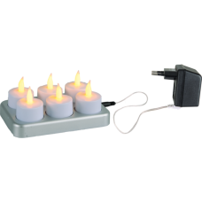 Rechargeable LED tea light candles 6-pack