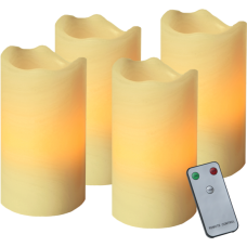 Battery powered LED waxcandles 4pcs 10cm ADVENT with remote, cream