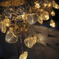 Battery powered light chain 1.4m 10LED HEARTS